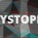 """Grafik mit Muster. Davor steht der Schriftzug """"Dystopie"""""""